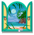 opened frame window with a view sandy beach of vector image