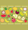 ornament of fruits and strips vector image vector image