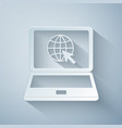 paper cut website on laptop screen icon isolated vector image vector image