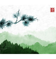 pine tree branch an green mountains with forest vector image vector image
