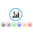 pound financial bar chart rounded icon vector image vector image