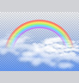 rainbow arc with white clouds in blue sky 3d vector image vector image