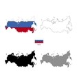 Russia country black silhouette and with flag