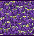 seamless pattern with flowering violets in hand-dr vector image