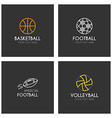 set of line art logotype templates with sport vector image