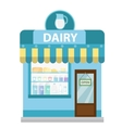 Shop with dairy products building icon Milk vector image vector image