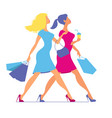 silhouette of women with shopping bags silhouette vector image vector image