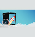 smartphone with toy rocket vector image