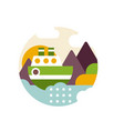summer landscape with river and ship in logo vector image vector image