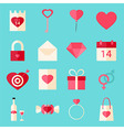 Valentine day flat style icons over blue vector image vector image