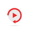 video play button like simple replay icon vector image vector image