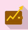 wallet money graph icon flat style vector image vector image