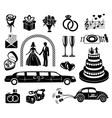 Wedding black simple icons set vector image vector image