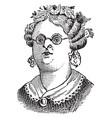 womans face with glasses vintage engraving vector image vector image