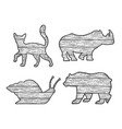wooden animals silhouette set sketch vector image vector image