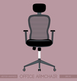 Black modern office armchair over pink background vector image