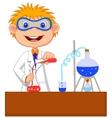 Boy cartoon doing chemical experiment vector image