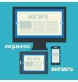 Digital newspaper on the displays of computer pad vector image