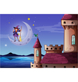 A witch with a broomstick standing near the castle vector image vector image