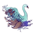 Abstract graphic colored swan print