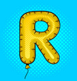 air balloon in shape of letter r pop art vector image vector image