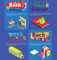 back to school set of posters with inscriptions vector image vector image