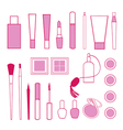 Beauty and care cosmetics red and pink white vector image vector image