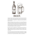 beer bottle and glass mug with foam poster vector image