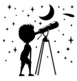 child with telescope vector image vector image