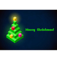 Christmas tree retro digital card vector image vector image