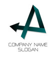 company logo with letter a and arrow vector image vector image
