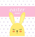 cute bunny on polka dots background easter card vector image