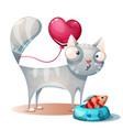 cute kitty cat characters with fish vector image