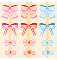 cute silky or satin lace ribbon or bow for vector image vector image
