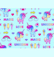cute unicorn seamless pattern magic dream kids vector image