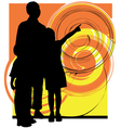Dad son and daughter vector image