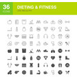 dieting fitness line web glyph icons vector image