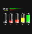 discharged and fully charged battery charging vector image vector image