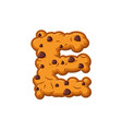e letter cookies cookie font oatmeal biscuit vector image