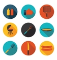 flat icons and grill vector image vector image