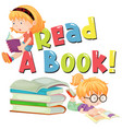 font design for word read a book with kids reading vector image vector image