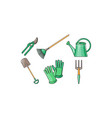 gardening tools icons set pruner shovel fan vector image