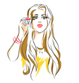 girl puts mascara on her eyelashes vector image vector image