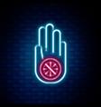 glowing neon line symbol jainism or jain dharma vector image vector image