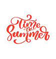 hand drawn time to summer lettering logo vector image vector image