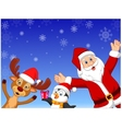 Happy cartoon Santa penguin and deer vector image vector image