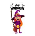 happy halloween cartoon character costume witch vector image