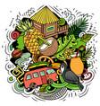 hawaii cartoon doodle design vector image