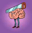 headache saw in the brain vector image vector image