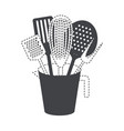 jar with kitchen utensils black silhouette and vector image vector image